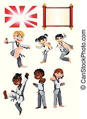 空手, taekwondo, 子供, イラスト