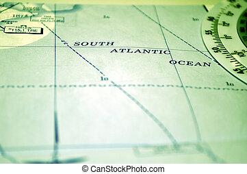空气, navigation:, 地图, 在中, 南方, 大西洋