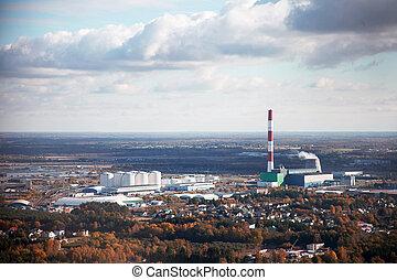 空気の写真撮影, の, ∥, 産業, 都市, ∥で∥, a, 工場