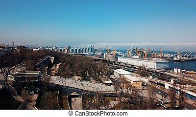 空気の写真撮影, の, a, 貨物ターミナル