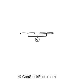 空気の写真, 写真撮影, 手, ベクトル, 引かれる, ロゴ, icon., カメラ, drone., element.