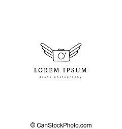 空気の写真, 写真撮影, 飛行, 手, ベクトル, カメラ。, ロゴ, 引かれる, icon., template.
