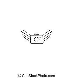 空気の写真, 写真撮影, 飛行, 手, ベクトル, カメラ。, 引かれる, ロゴ, icon., element.