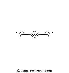 空気の写真, drone., 手, ベクトル, 引かれる, ロゴ, icon., カメラ, 写真撮影, element.