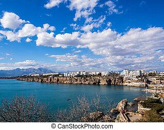 空気の 写真, の, antalya, 湾