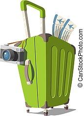 空気, アイコン, ベクトル, 概念, 漫画, 旅行, 観光事業, カメラ, travel., イラスト, 切符, スーツケース, style.