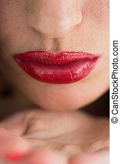 空気, 唇, クローズアップ, 赤, 接吻