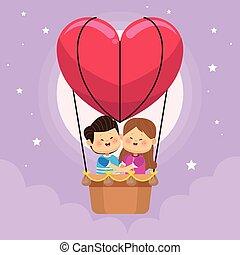 空気, 子供, わずかしか, 暑い, balloon, 恋人, かわいい