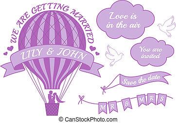 空気, 暑い, 招待, balloon, 結婚式