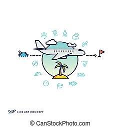 空氣, 旅行, 飛機, 飛行, 概念, 由于, 線性, 圖象
