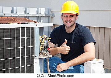 空氣, condioner, repairman, thumbsup
