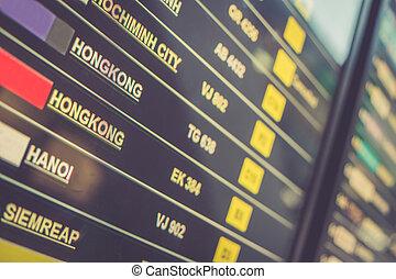 空港, ディスプレイ, 板, 出発