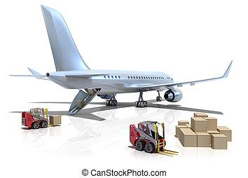 空港, :, フォークリフト, そして, 飛行機