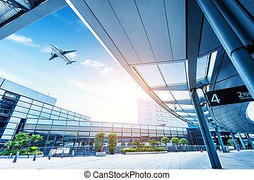 空港, 上海, pudong, 道