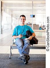 空港, 人, 飛行, 若い, 待つこと