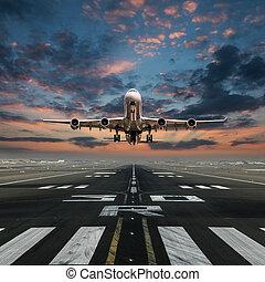 空港。, 出発, 飛行機