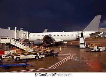 空港, 夕方, 細部, 嵐である