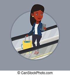 空港。, 女, smartphone, エスカレーター, 使うこと