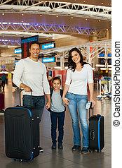 空港, 家族, 手を持つ