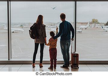 空港, 楽しむ, 味方, 家族, 光景