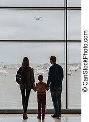 空港, 飛行機, 家族, 凝視