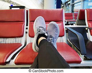 空港, 飛行機, 若者, 待つこと