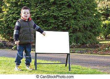 空白のサイン, 公園, 指すこと, 子供