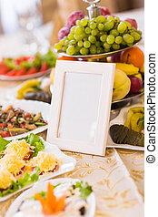空白, 事件, 客人, 卡片, 上, 餐館, 桌子, 特寫鏡頭