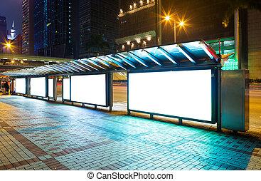 空白, 做廣告, 面板, 上, 街道