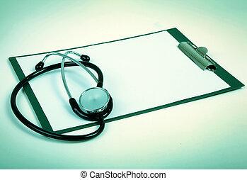 空白, 剪貼板, 由于, 聽診器