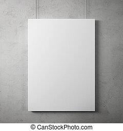 空白, 廣告欄, 上, 牆壁