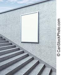 空白, 廣告欄, 上, 牆壁, 由于, 步驟