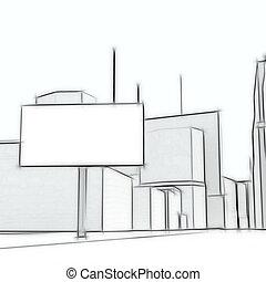 空白, 廣告欄, 上, the, 摘要, 城市, 背景
