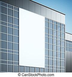 空白, 廣告欄, 上, the, 現代, 建筑物。, 3d, rendering