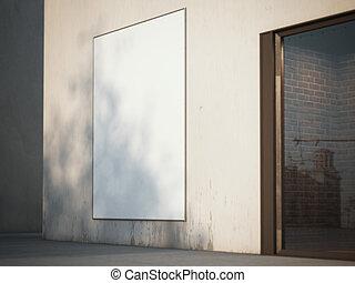 空白, 廣告欄, 上, the, wall., 3d, rendering