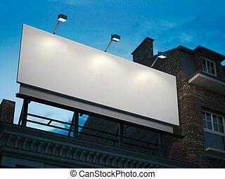 空白, 廣告欄, 站立, 上, 第一流, 建築物, 在, the, 夜晚