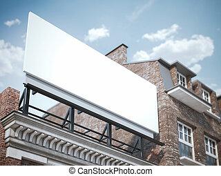 空白, 廣告欄, 站立, 上, the, 第一流, 建築物