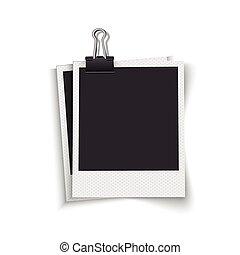 空白, 照片框架, 由于, 夾子