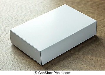 空白, 白色, 紙盒, 上, 黑暗, 木頭, 背景