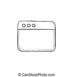 空白, 窗口, 在中, 因特网浏览器, 勾画, icon.