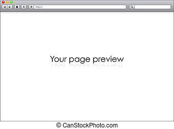 空白, 窗口, 在中, 因特网浏览器, 样板, 描述