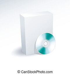 空白, 箱子, 以及, dvd, cd, 磁盤