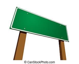空白, 綠色, 路標, 在懷特上