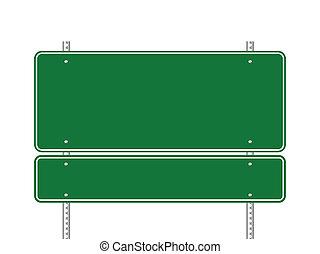 空白, 綠色, 路標