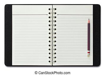 空白, 螺紋筆記本, 以及, 鉛筆, 被隔离, 在懷特上