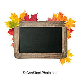 空白, 黑板, 由于, 秋季离去, 在懷特上