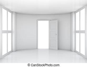 空的房間, 由于, 打開, 門, 以及, windows