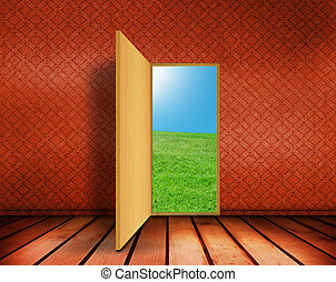 空的房間, 由于, 打開, 門
