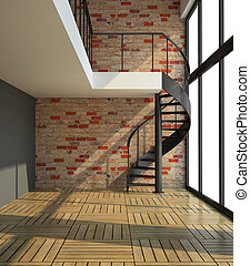 空的房間, 由于, 樓梯, 在, 等待, 為, 租戶, 插圖