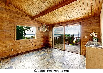 空的房間, 由于, 磚地, 以及, 木制, trim.